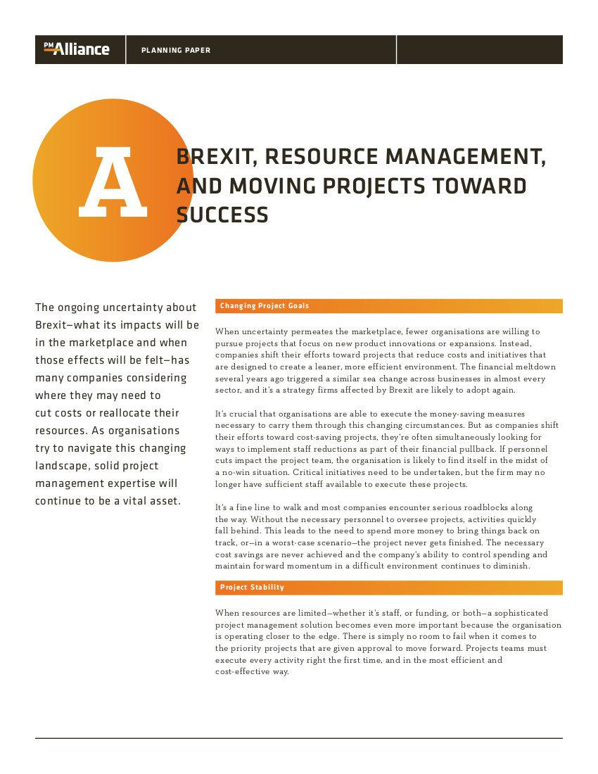 Brexit, Resource Management, and Moving Projects toward Success